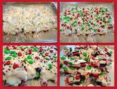 Keeping up with the Kitchen Mom: Christmas Cookie Bark. Switch up the colors for other holidays. Mini Desserts, Holiday Desserts, Holiday Baking, Holiday Treats, Holiday Recipes, Christmas Recipes, Holiday Fun, Winter Treats, Cold Desserts