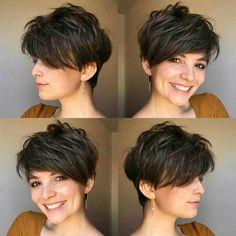 Short Hairstyles For Thick Hair, Medium Short Hair, Short Pixie Haircuts, Hairstyles Haircuts, Curly Hair Styles, Korean Hairstyles, Quick Hairstyles, Everyday Hairstyles, Long Pixie Cut Thick Hair