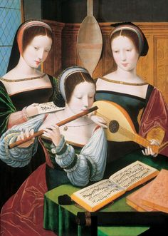 Three Ladies Making Music (betw. 1530 and 1550/60). Master of the Female Half-Length Portraits. Oil on oak. Liechtenstein Museum, Viennа. The Master of the Female Half-Lengths was a Netherlandish painter, perhaps a group. Appeared to have been trained in Joachim Patinir's workshop, the Master (or group) specialized in small panel paintings of young aristocratic ladies. The subjects were in half-length and engaged in various pursuits, such as reading, writing, and playing musical…