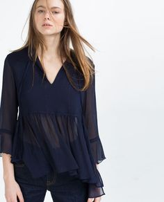 SHIMMER THREAD BLOUSE-Blouses-TOPS-WOMAN | ZARA United States