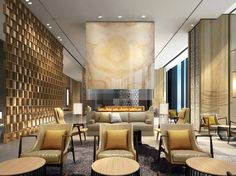 When it comes to getting a hotel ready to greet its guests, a lobby design is a tell-all. The entrance to a brand new world of luxury, these luxurious hotel lob Lounge Design, Lounge Decor, Hotel Lounge, Bar Lounge, Lobby Lounge, Hotel Lobby Design, Hotel Design Architecture, Grand Hall, Public Hotel