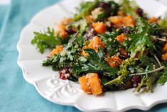 """Roasted Sweet Potato, Quinoa and Kale Salad - """"I tossed everything with a simple red wine vinaigrette which coated the kale and the quinoa perfectly, but the real flavor came from the spices from the sweet potatoes!  It was a beautiful marriage made in heaven…er I mean my kitchen… and has the perfect balance of greens, protein and starches.  Hope you enjoy this as much as we did! - """""""