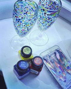 Мексикобокалы #2 Если с розовым игристым - очень ничего  #росписьпостеклю#бокалы#шампанское#ярко#краски