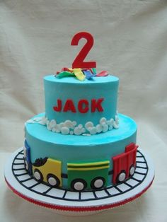 """I made this cake with the inspiration from 2 of Sugarshack's cakes. The cake is covered in bc with fondant accents. The bottom is a 10"""" round, and the top is a 6"""" round. The track was piped on with black bc."""