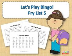 Fry List 5 - Words 501 to 600 40 Bingo Cards with Free Space 25 playing spaces per cards Call list of the 100 words randomized Print on card stock and laminate for multiple uses Print on regular paper for one-time use