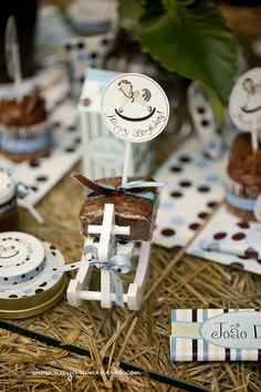 How cute is this? Brownies wrapped with ribbons with a rocking horse pick on a rocking horse.