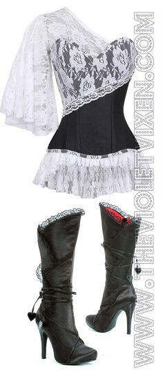 These boots were made for walking with this corset. #HintOfRed  Laced Cloud Black Corset- http://thevioletvixen.com/corsets/laced-cloud-black-corset/  Gothic Valentine Boots - http://thevioletvixen.com/boots/gothic-valentine-boots/