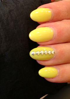 Nails Stiletto Nails Yellow Studs