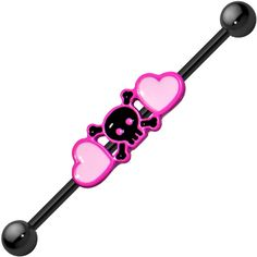 Black Anodized Titanium Pink Hearts and Skull Industrial Barbell | Body Candy Body Jewelry #bodycandy