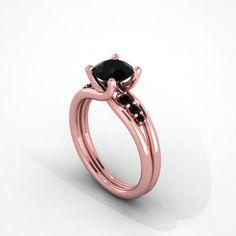 black diamonds rose gold engagement ring,wedding ring,hand made ring , style…