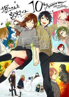 Horimiya Anniversary by 萩原ダイスケ ( Manga Anime, Anime Couples Manga, Cute Anime Couples, Manga Art, Fanart, Kawaii Anime, Character Art, Character Design, Hirunaka No Ryuusei