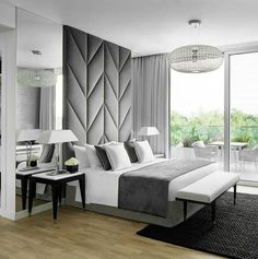 Bedroom design in white, black and grey featuring contemporary lines and beautiful chandelier