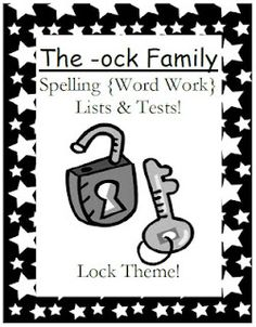 Fern Smith's Classroom Ideas!: Fern's Freebie Friday ~ The -ock Family Spelling {Word Work} Lists & Tests