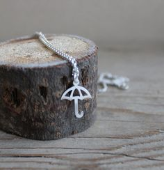 Silver umbrella necklace sterling silver minimalist jewelry umbrella charm pendant on Etsy, $25.00