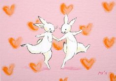 Valentine print Meant to Be PRINT bunnies print by JAustinRyan, $5.00