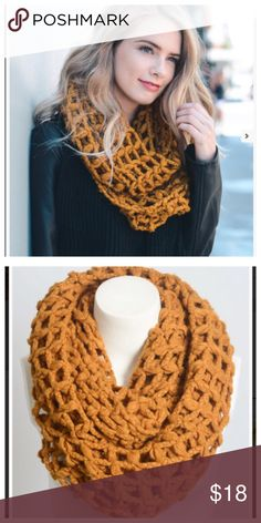 Mustard net knit infinity scarf Soft knit infinity scarf. 100% acrylic. LT4550812 Accessories Scarves & Wraps