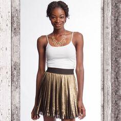 Gold pleated skirt Mate hold pleated skater skirt Skirts Circle & Skater