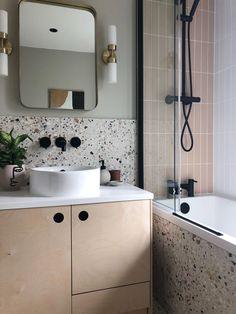 Stone Bathroom, Small Bathroom, Tiled Walls In Bathroom, Taupe Bathroom, Bathroom Ideas, Bathroom Fitters, Mandarin Stone, Terrazzo Tile, Tiling