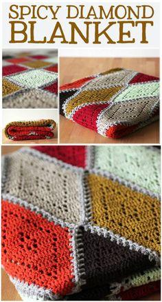 Free Crochet Pattern Spicy Diamond Blanket