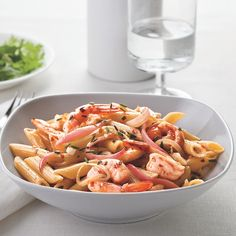 This pasta and shrimp recipe from Cat Cora is ready to serve in less than 30 minutes. Just be sure to place a pot of water on the stove to boil for the pasta before continuing with the preparation of the ingredients.