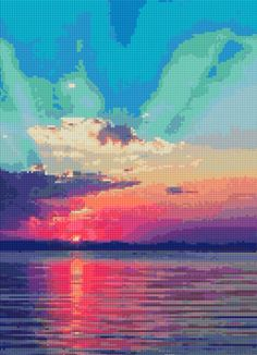 Ocean Sunset Cross Stitch pattern PDF  Instant Download