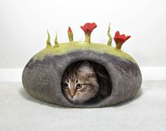 Felted Cat Bed TUTORIAL / Cat Cave Pattern. Instant PDF Download. Wet Felting…