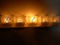 monograpy candle holder  | Tea Light Candle Holders Etched Glass Frosted Glass Look Personalized ... It be so cute if it spell out Katie and Dave name.