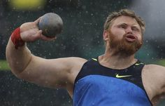 Kurtis Roberts throws during the men's shot put competition at the U.S. Olympic Track and Field
