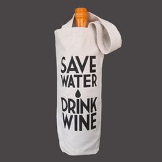 Recycled Cotton Canvas Wine Bag  Save Water Drink Wine by Towne9