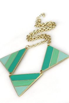 green ombre triangle necklace $20