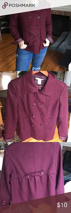 Maroon Peacoat w/ Double Button and Back Bow Never worn in great condition! Ask me any questions. Size L, true to size but I am more of a medium and it still fits me as shown. More of a thin peacoat for fall and spring as opposed to winter (judging by my New England standards anyways). Ask me any questions and check out my listings for bundles! 🌸💕 Charlotte Russe Jackets & Coats Pea Coats