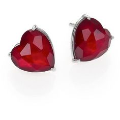 Adriana Orsini Garnet & Mother-Of-Pearl Heart Stud Earrings