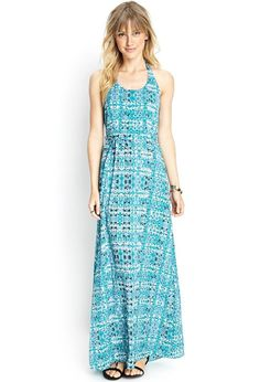 Love 21 - A woven halter maxi dress featuring an abstract print and self-tie neck and waist. . Unl...
