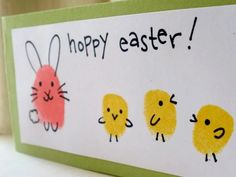 All you need is a stamp ink pad, marker, and your kids' fingers to make these fun critters. Plus, add a small greeting and they can easily be used as Easter cards. Get the tutorial at Sarahndipities.   - CountryLiving.com