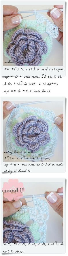 18 petal rose granny square tutorial