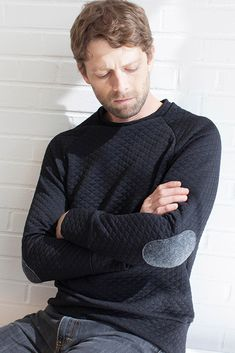 Colette Seamwork Magazine - Paxson Men's and Women's Sweater sewing pattern with elbow patches