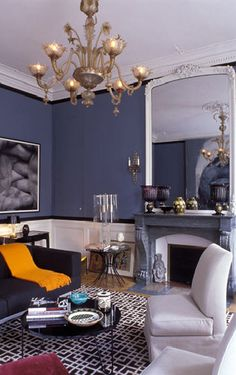 wall color, rug, yellow accent