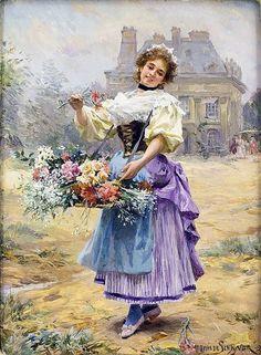 Flower.  French artist Louis Marie de Schryver (1862-1942)