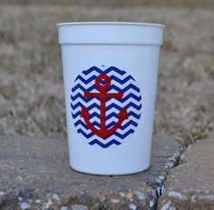 5 navy chevron with anchor party favor cups by ihaveafavor on Etsy, $15.00