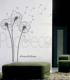 Flower wall decal baby girl room decal living room decal wall sticker- Dandelions -Designed by Pop Decors on Etsy, $32.00
