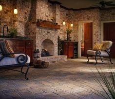 We can't get enough of spaces that take the indoors out. This outdoor room features our Urbana pavers.