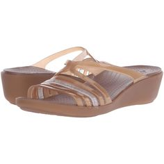 4a4687bfe1a0 Crocs Isabella Mini Wedge (Bronze) Women s Wedge Shoes ( 35) ❤ liked on