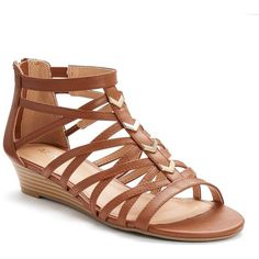 Apt. 9® Women's Wedge Gladiator Sandals ($35) ❤ liked on Polyvore featuring shoes, sandals, brown, gladiator sandal, low wedge sandals, open toe wedge sandals, metallic gladiator sandals and elastic-strap sandals