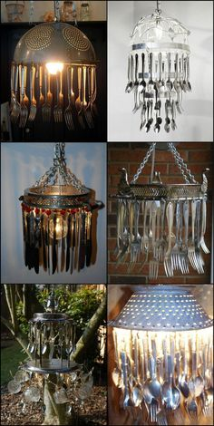 What do you think of this unique kitchen chandeliers made from recycled kitchen utensils?  There are literally hundreds of ways to repurpose old cutlery. Here are a few examples to get the creative juices flowing: http://theownerbuildernetwork.co/jc0k  Feeling inspired?