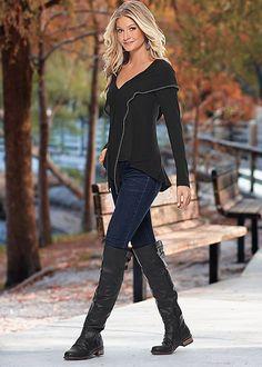 BLACK Hooded top, skinny denim, buckle knee boot from VENUS
