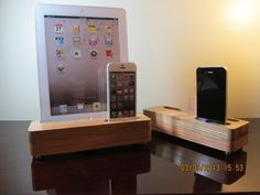 Fathers day gift. Hand made oak docking and charging station for all iPads  and iPhone 4 or iPhone 5.