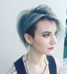 Oldie but goodie! Undercut textured bob, and grey turquoise color I did :)