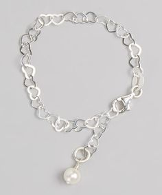 Look what I found on #zulily! White Pearl & Sterling Silver Heart Link Bracelet by Five Little Birds Jewelry #zulilyfinds