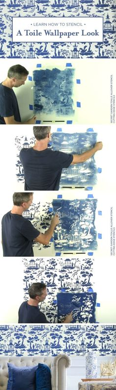 Cutting Edge Stencils shares a stencil tutorial on how to recreate a chinoiserie wallpaper look using the Secret Garden Toile wall pattern. www.cuttingedgest...