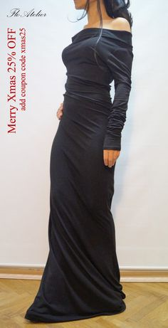 Long Sleeve Maxi Dress/Casual Evening Elegant Dress/ Sexy Women Party Dress/ Extravagant Dress/ Dress With Open Shoulders/ USD) by FloAtelier Elegant Dresses For Women, Party Dresses For Women, Sexy Dresses, Casual Dresses, Elegant Maxi Dress, Sexy Maxi Dress, Long Sleeve Maxi, Maxi Dress With Sleeves, Couture